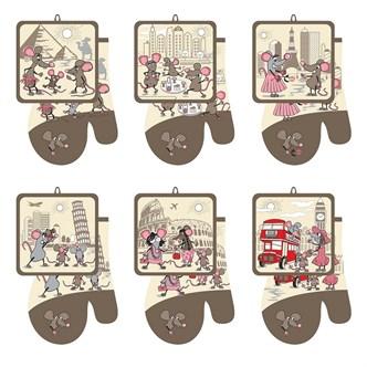 Набор кухонный прихватка с рукавицей Мышки-путешественники