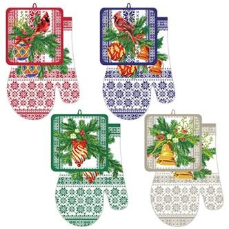 Набор кухонный прихватка с рукавицей Новогодние узоры