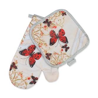 Набор кухонный  2пр прихватка+рукавица фото-печать Бабочки в ассортименте с тефлоновым покрытием