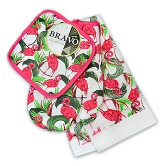Набор кухонный 3 пр (прихватка+рукавица+полотенце) Фламинго