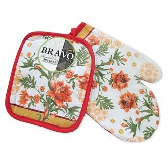 Набор кухонный 2 пр (прихватка+рукавица) Цветы