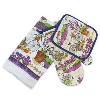 Набор кухонный прихватка + салфетка х/б + рукавица Лаванда
